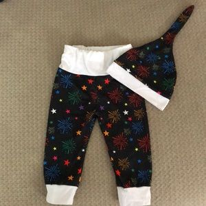 Fireworks pants and hat set - 0-3 mos